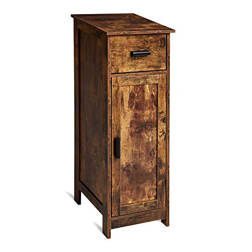 TianLang mid-Century Storage Cabinet with 1 Drawer and 1 Doors,Small Bathroom Floor Storage Cabinet,Free Standing Sideboard Cupboard,for Living Room, Bedroom, Kitchen, Home Office, LJBC001F