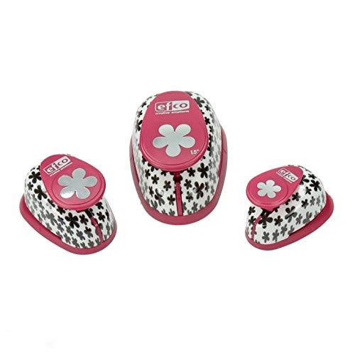 EfcoPerforadora de diseño Retro de Flores, 3Piezas, 14mm, 24mm, 35mm, Color Rosa