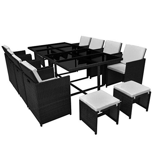 vidaXL Gartenmöbel 13-TLG. mit Auflagen Gartenset Sitzgruppe Sitzgarnitur Gartengarnitur Gartentisch Tisch Esstisch Stühle Poly Rattan Schwarz