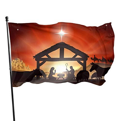 Bandera tradicional de la historia de la escena navideña de invierno 3x5 pies Bandera grande de poliéster cosida Bandera estándar colgante exterior
