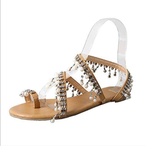 CTEJ Damen Perlensandalen Sommer Boho Style Damen Schuhe Party Sexy Perle Flache Sandalen,Brown,40