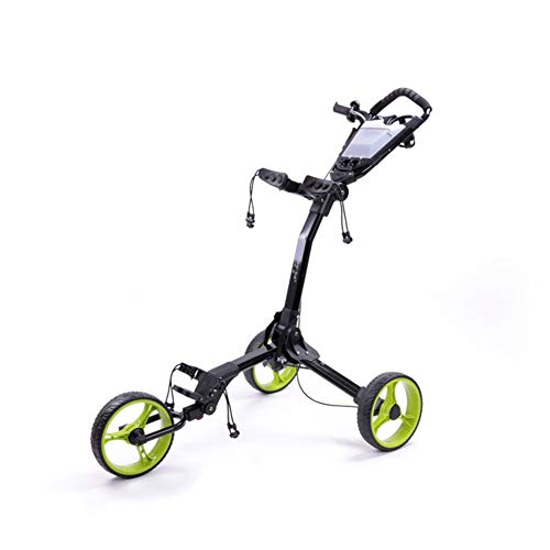 New KXDLR Golf 3 Wheel Push/Pull Golf Trolley Black/Green