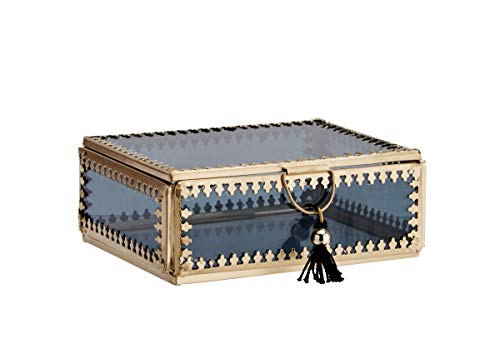 Madam Stoltz Glasbox Schatulle Schmuckdose mit Deckel Aufbewahrung mit Ornament Borte und Quaste Messing Glas schwarz Deko Boho Ethno