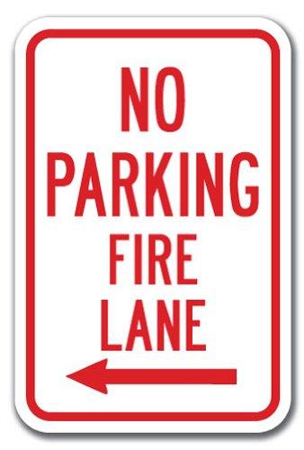 "No Parking Fire Lane with Left Arrow Sign 12"" X 18"" Heavy Gauge Aluminum Signs"