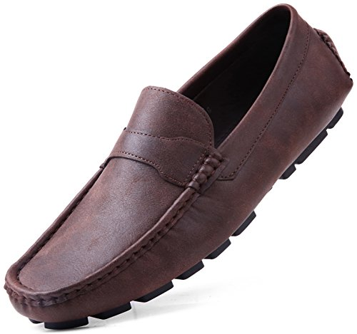 Gallery Seven Driving Shoes for Men - Casual Moccasin Loafers - Saddle Brown - 10.5 (M) US
