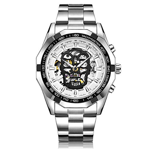 Gnaixyc Steampunk Reloj mecánico automático militar militar, correa de acero inoxidable luminosa cráneo esqueleto relojes de pulsera, A, L