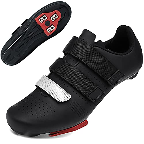Zapatillas Ciclismo Carretera Hombre Bicicleta Carretera MTB Tacos Respirables calas Pedales Mountain Interior Zapatillas de Ciclismo (negro1, Numeric_39)