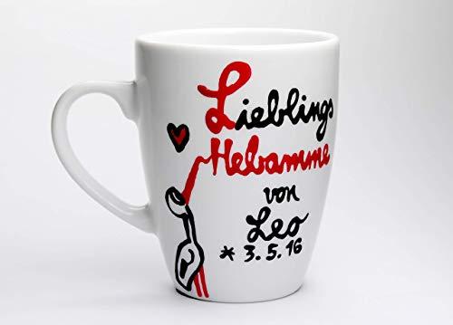 Geschenk für Hebamme, Danke Tasse für Deine Hebamme, handbemalt und personalisierbar