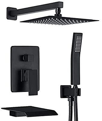 CHING Shower System Matte Black Wall Mounted Shower Faucet Set with Waterfall Tub Spout and 10 Inch Rain Shower Head Rain Mixer Shower Faucet Combo Set All Metal (Matte Black 10 Inch)