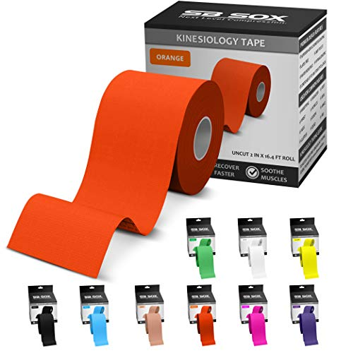 SB SOX Kinesiology Tape (16ft Uncut Roll) – Best Latex Free, Water Resistant Treatment for Muscles & Joints – Let Our Free Illustrative How-to-Use Guide Help You – Ideal for Any Activity (Orange)