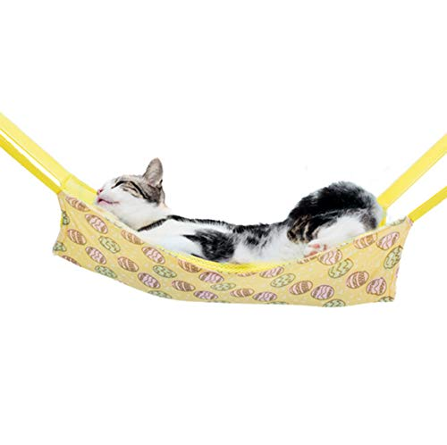 MKDcom Pet Cage Hammock Cooling Hammock Bed for Cats and Small Animals, Ice Silk Hanging Bed Cooling Pads for Ferret Rat Chinchilla Hamster Cavy Rabbit, Stay Cool in Summer, Large(Yellow)