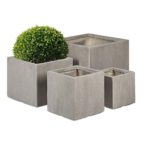 Relaxdays Pflanzkübel im 4er Set, Holzoptik, wetterfest, UV-resistent, 4 Größen, für außen, eckige Blumentöpfe, grau