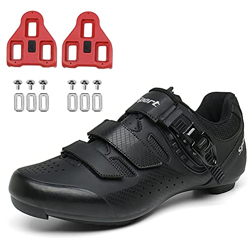 Mens Womens Road Bike Cycling Shoes Indoor Peloton Bike Riding Shoes with Cleats Clip Compatable SPD Delta Lock Pedal Black 245