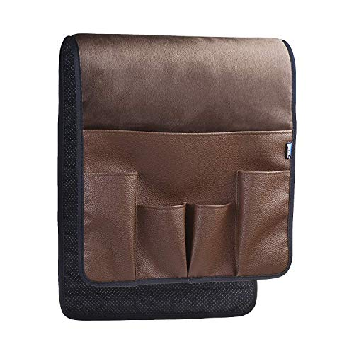 BCP Dark Brown Color Velvet Sofa Couch Chair Armrest Soft Caddy Organizer Holder for Remote Control, Cell Phone, Book, Pencil