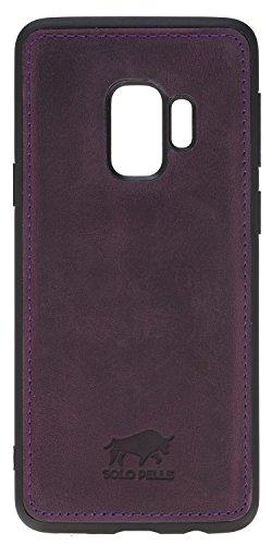 Preisvergleich Produktbild Solo Pelle Lederhülle für das Samsung Galaxy S9 Plus Hülle,  Schutzhülle aus echtem Leder,  Model: Stanford in Vintage Lila