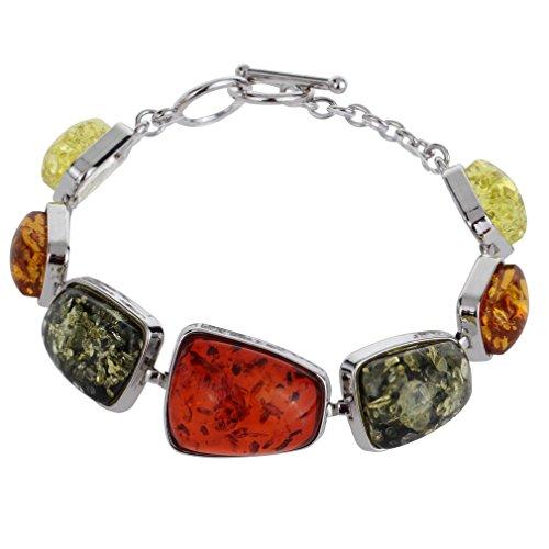Yazilind Frauen Weinlese-Silber überzogene rote Bernstein-Armband-Armbänder Schmuck Geschenke