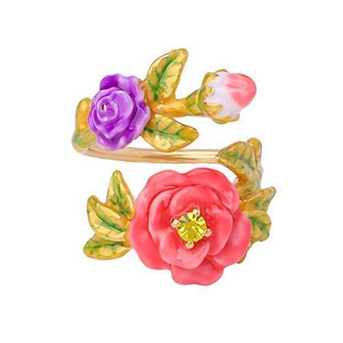 Lozse Einstellbarer Ring Damen Ring Emaille Glasur Blume fügt Bohrer verstellbaren Ring öffnen