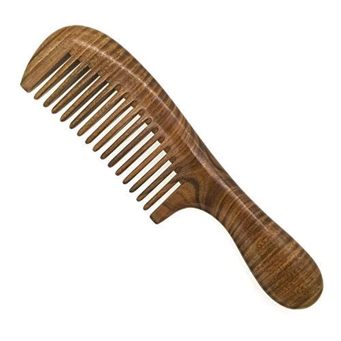 意図するリスピンポイントERZA SCARLET Real Natural Green Sandalwood Wooden Comb/Boutique Hair Comb - NO SNAGS,NO STATIC,NO TANGLE (Wide tooth) [並行輸入品]
