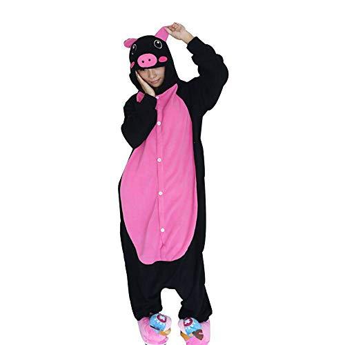 CUIZC Las mujeres de una sola pieza Pijamas de Otoo e Invierno Animales de dibujos animados de una sola pieza Pijamas Rosa Vientre Negro Cerdito
