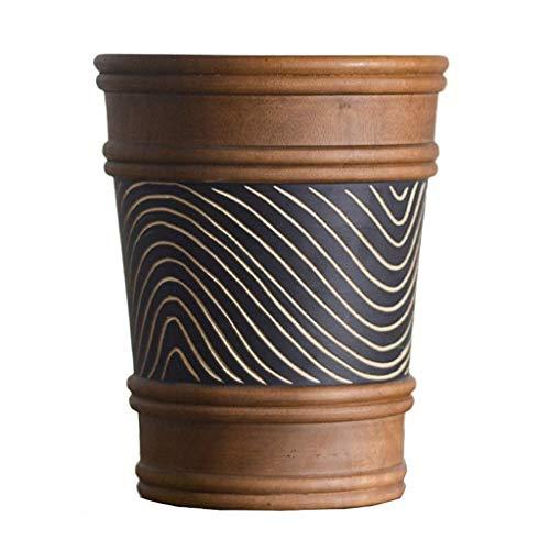 1yess Mülltonne aus Holz Mülleimer 8L ohne Deckel Handgemachte Vintage Mülleimer für Home Büro Schlafzimmer Runde Große Öffnung Mülleimer Abfallbehälter (Farbe: braun) (Color : Brown)