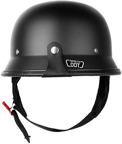 Aprobado por el Dot Adulto Estilo plástico ABS Alemana Media Cara Casco de la Motocicleta for Curiser Touring Vespa Aire Libre L (Size : L)
