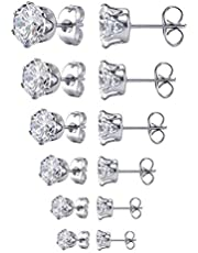 Women's Stainless Steel Round Clear Cubic Earring (6 Pairs)