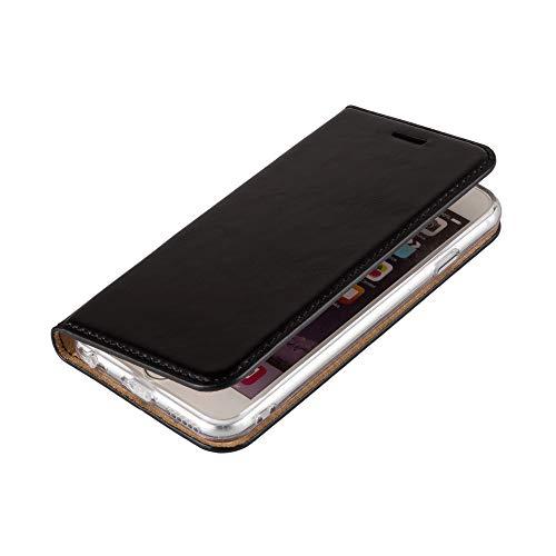 Wormcase ® Handytasche kompatibel mit iPhone 5-5S-SE – LEDERHÜLLE - KARTENFACH – MAGNETVERSCHLUSS – Schwarz - Case Echt-Leder-Tasche-Hülle-Case Etui Flip Schutz-huelle Echtes-leder