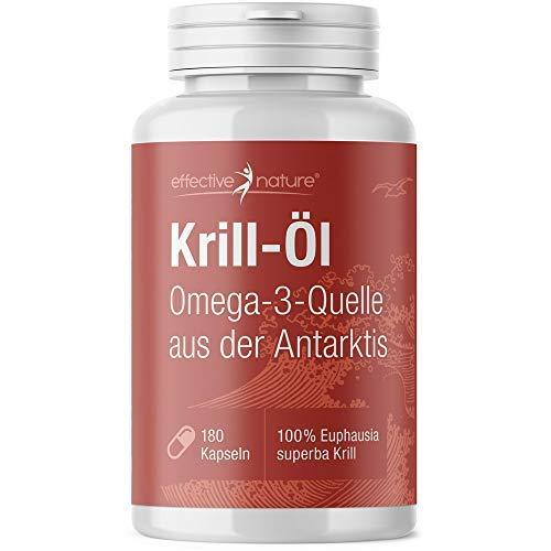 effective nature - Krill Öl Kapseln - 180 Kapseln - Sehr Hoher Anteil an Omega 3 Fettsäuren