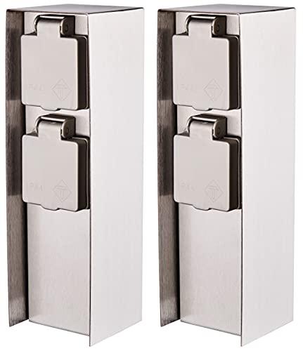 Novatool 2 colonne di corrente per esterni, 2 prese, argento spazzolato, in acciaio inox, rettangolari, IP44, presa multipla per giardino, esterni, multipresa