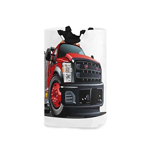YUDILINSA Cesto de Lavandería,Camión de bomberos de dibujos animados disponible Eps10,Plegable Cesto de Sucia Ropa Bolsas Almacenaje capacidad 52L con Asa para Dormitorio