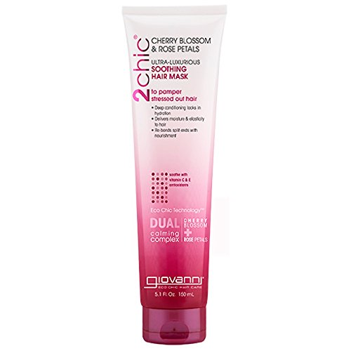 Giovanni 2chic Ultra Luxurious Soothing Hair Mask, Cherry Blossom & Rose Petals, 5.1 Oz