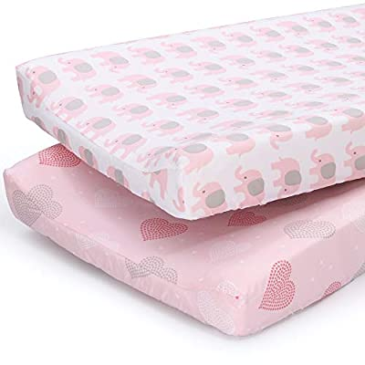 The Peanutshell Changing Pad Covers for Baby Girls | 2 Pack Set | Pink Elephant & Hearts
