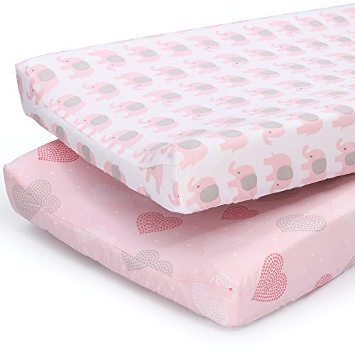 The Peanutshell Changing Pad Covers for Baby Girls | 2 Pack Set | Pink Elephant amp Hearts