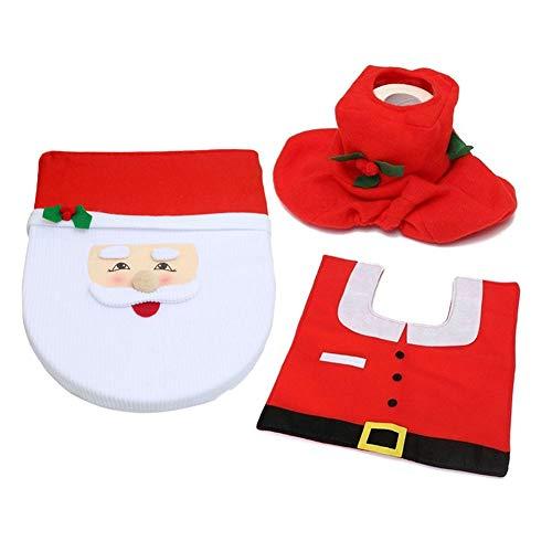 Vcedas Coperchio del Water Natalizio, di Babbo Natale Set di Decorazioni per Bagno novità Set da Toilette WC con Copriwater e Tappeti e Copri Serbatoio