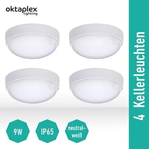 4 Stück LED BASE MINI Rund Kellerleuchte | Deckenleuchte IP65 Deckenlampe 4000K Neutralweiß Kellerlampe 800 Lm 9W