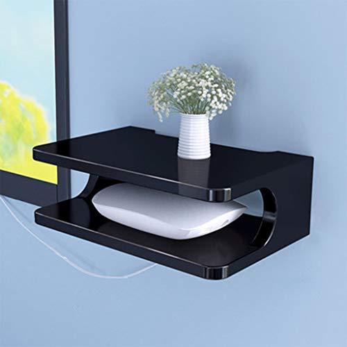 YANQ Mensola Mobile per componenti TV, Console multimediale a Parete in Metallo, 2 Livelli, per cabine/Router/telecomandi/Lettori Dvd/Console di Gioco (Fare Riferimento all'immagine Principale per