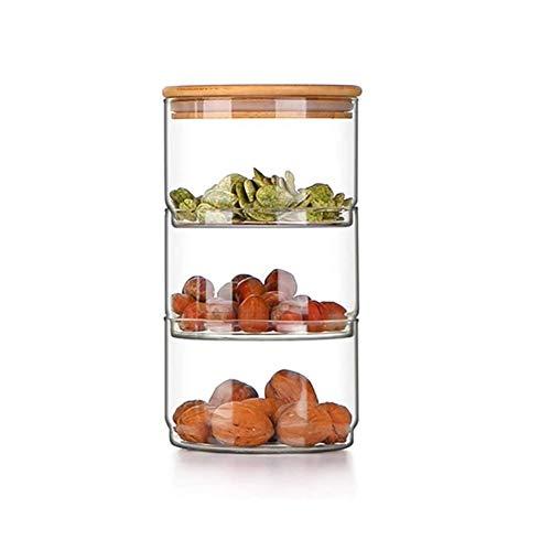Frascos Hermeticos Chihen Galletas latas, 3-Tier tarro de cristal del alimento con bambú natural de la tapa, tarro de cristal del frasco Borrar almacenamiento de contenedores Ideal for su uso como Can