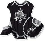 NBA by Outerstuff NBA Newborn & Infant San Antonio Spurs Mini Trifecta Bodysuit, Bib & Bootie Set, Black, 18 Months