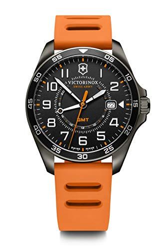 Victorinox FieldForce Sport GMT Reloj para Hombre de fabricación Suiza en Negro con Correa de Silicona Naranja 241897