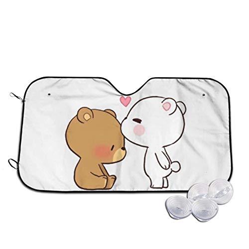 Parasol para parabrisas de coche, diseño de oso marrón con estampado de oso blanco, tamaño pequeño
