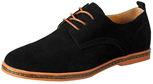 Schnürhalbschuhe Herren Leder Schwarz 40.5 Schuhe Jungen Men's Suede Oxfords DE 40.5,Herstellergröße 255