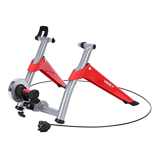 Magnetic Bike Trainer Stand Indoor Bike Trainer Exercise Bicycle Magnetic Stand for Wheel of 26''-27' and 700C, 6 Levels Magnetic Resistances w/Fluid Flywheel,Quick-Release