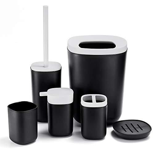 GERUIKE Juego de 6 Accesorios de Baño Juego de Baño Plástico Duradero Organizador de Baño, Incluye Jabonera, Dispensadora, Porta Cepillo de Dientes, Escobilla para Indoro, Cubo y Vaso (Negro)