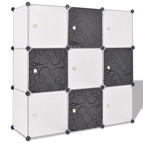 Tidyard Armario de Ropa para Ropa Organizador Ropero Plegable Colgar Armario Cubo Organizador con 9 Compartimentos Negro y Blanco