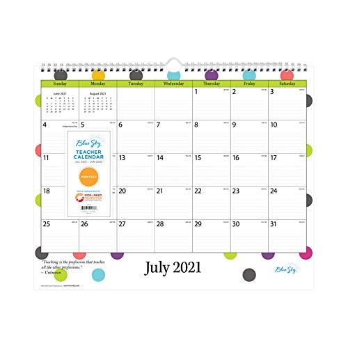 Blue Sky 2021-2022 Academic Year Teachers Monthly Wall Calendar, 15' x 12', Wirebound, Ruled Blocks,...