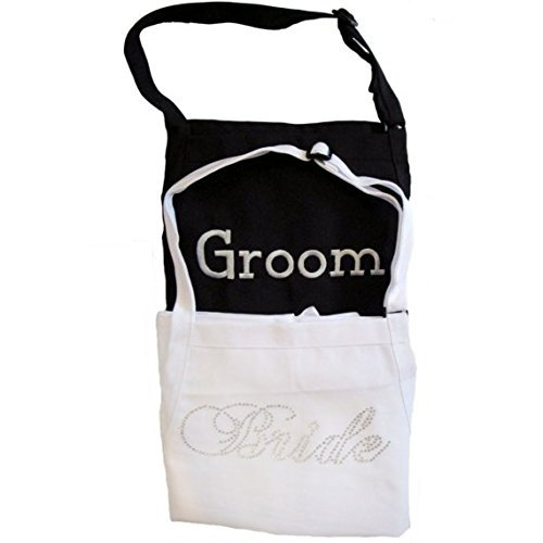 Los Angeles Mall Bride and Groom Apron Set - Wholesale H for Font Fancy Rhinestones