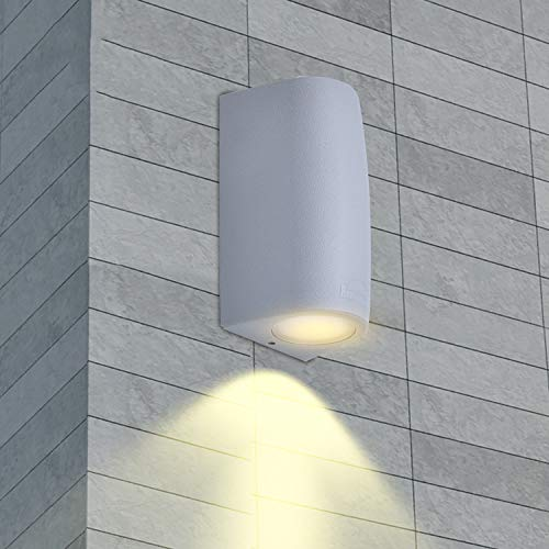 """LED Wandleuchte GU10 Außen/Innen Grau, Innovative Wandlampe von Registrierter """"FUMATECH"""" Haltbarkeitstechnologie, Außenwandleuchte Wandspot Einschließlich Austauschbarer 3,5W Warmweiß Lampe"""