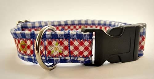 stitchbully Hundehalsband Bayern Oktoberfest Design blau weiß kariert Herzileine und Edelweiß Borte, verstellbar, Grösse L, 32-45 cm Halsumfang geeignet 2220