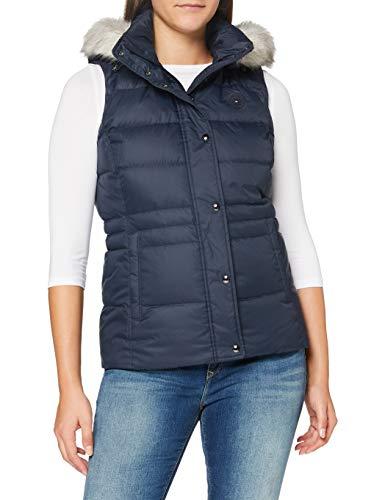 Tommy Hilfiger TH ESS Tyra Down Vest with Fur Chaqueta, Desert Sky, XXS para Mujer