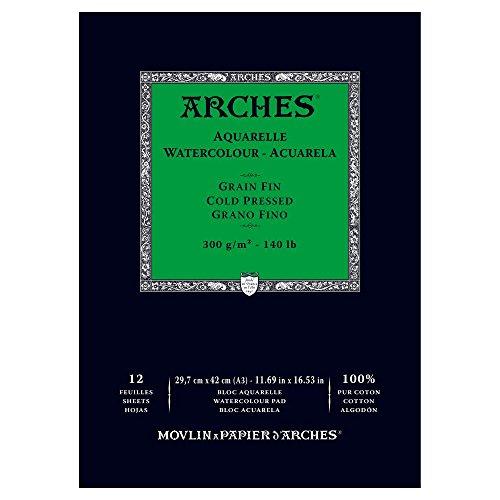 Arches - Papel de acuarela, bloc 12 hojas engomado 1 lado, grano fino, 300 g/m², A3